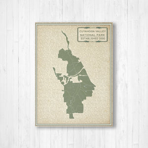 Hanging Canvas Map of Cuyahoga National Park | Printed Marketplace