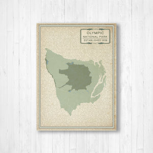 Olympic National Park Street Map Print