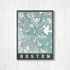 Boston Massachusetts City Street Map Print