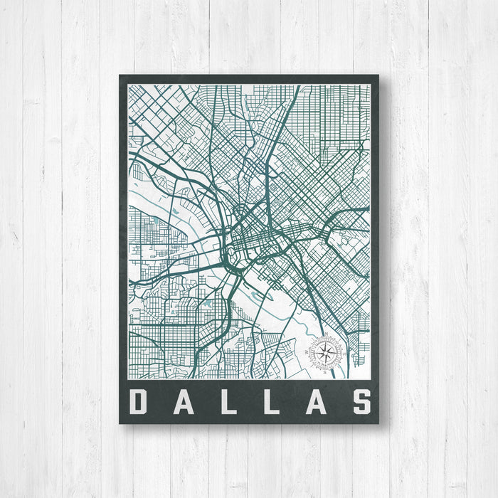Dallas Texas City Street Map Print