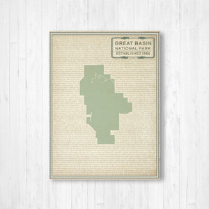 Hanging Canvas Map of Great Basin National Park by Printed Marketplace