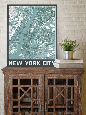New York City Urban Street Map | Hanging Canvas Map of New York City | Printed Marketplace