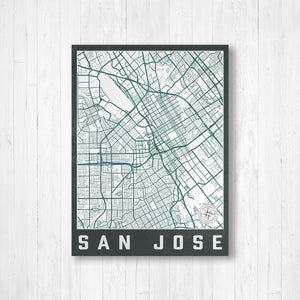San Jose California City Street Map Print