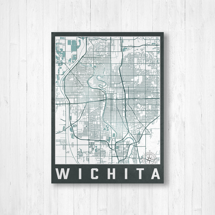 Wichita Kansas Urban City Street Map Print