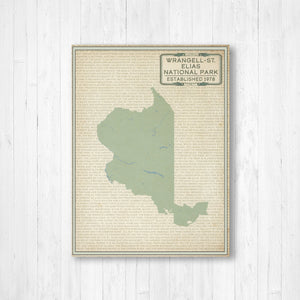 Wrangell-St. Elias National Park Street Map Print