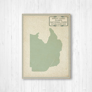Hanging Canvas Map of Great Sand Dunes National Park by Printed Marketplace