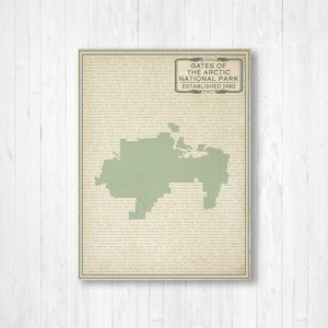 Hanging Canvas Map of Gates of the Arctic National Park | Printed Marketplace