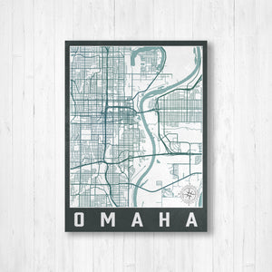 Omaha Nebraska Urban City Street Map Print