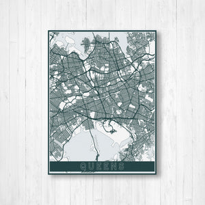Queens Hanging Canvas Map by Printed Marketplace