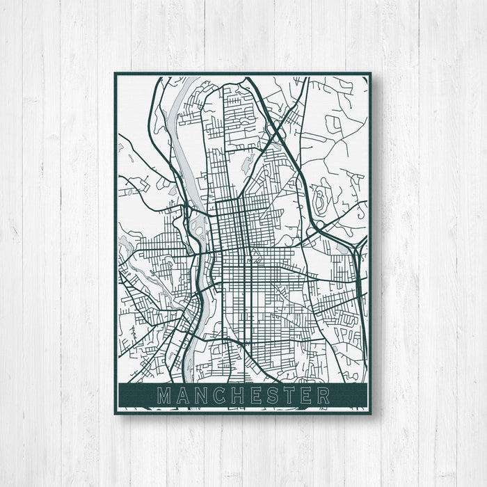 Manchester New Hampshire Street Map Print