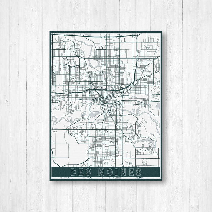 Des Moines Iowa Street Map Print