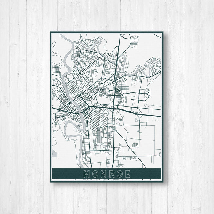 Monroe Louisiana Modern Street Map Print