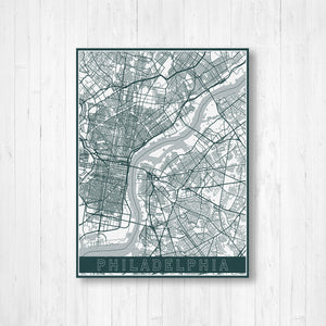 Philadelphia Pennsylvania Street Map Print