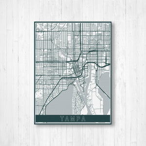 Tampa Florida City Street Map Print | Hanging Canvas Map of Tampa | Printed Marketplace