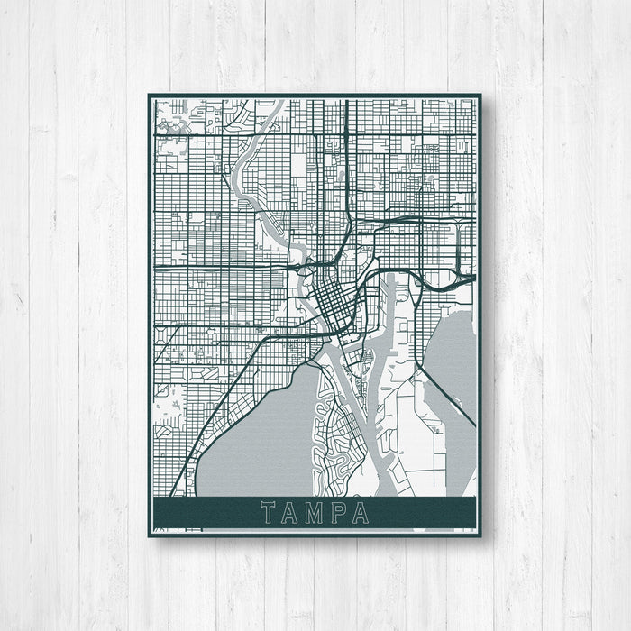 Tampa Florida City Street Map Print