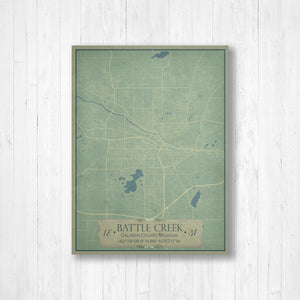 Battle Creek Michigan City Street Map Print