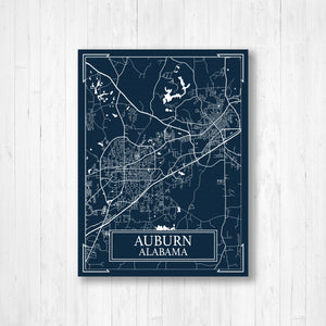 Auburn Alabama Blueprint City Street Map