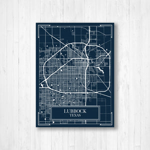 Lubbock Texas Blueprint Map