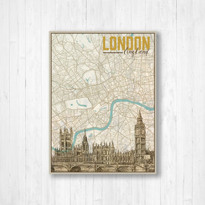 London England Map and Illustration