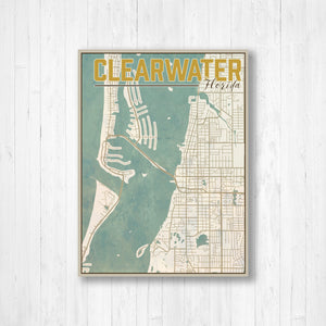 Clearwater Florida City Street Map Print