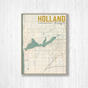 Holland Michigan Vintage Map Illustration