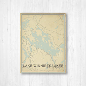 Lake Winnipesaukee New Hampshire Street Map Print: Vintage