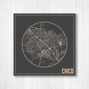Chico California Square City Street Map Print