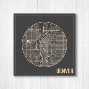Hanging Canvas Map of Denver Colorado