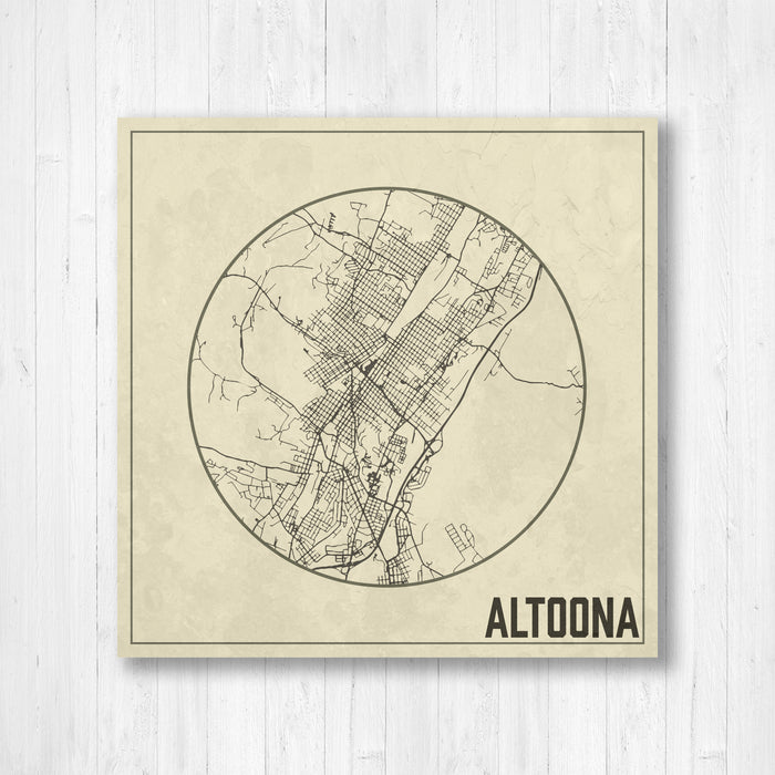 Altoona Pennsylvania Square Street Map Print
