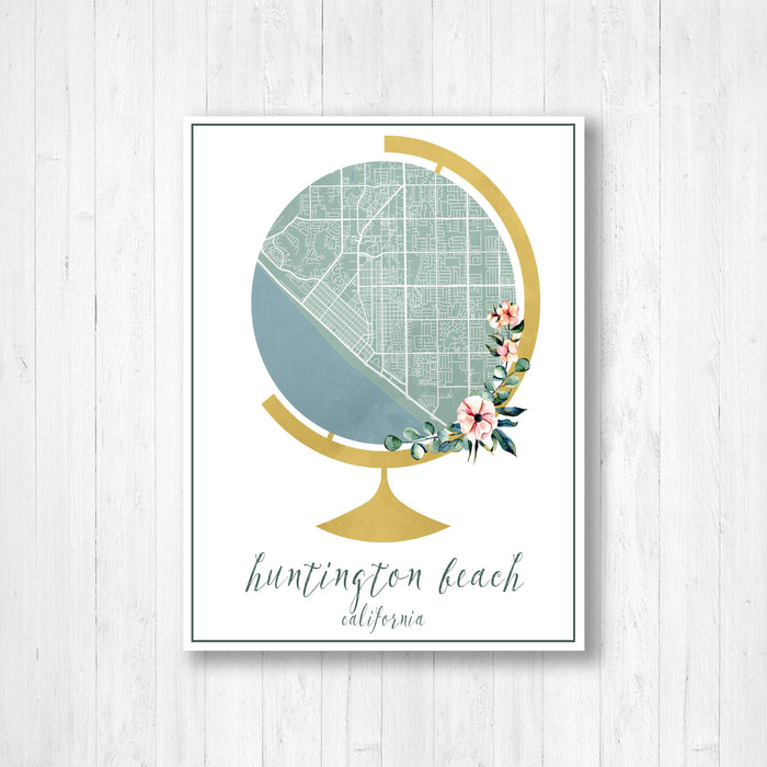 Huntington Beach Floral Watercolor Globe Map