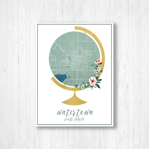 Watertown South Dakota Street Map Print