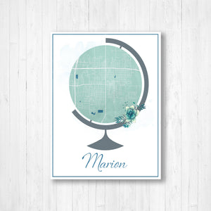 Marion Illinois Globe Street Map