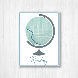 Reading Pennsylvania Globe Map