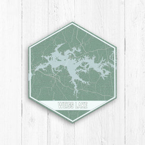 Weiss Lake Hexagon Map Print
