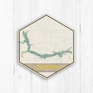 Lake Sakakawea Hexagon Canvas: Nautical