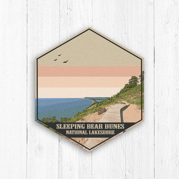 Sleeping Bear Dunes Michigan Hexagon Illustration Print