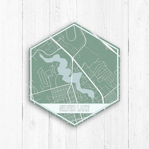 Silver Lake Delaware Hexagon Map Canvas Print