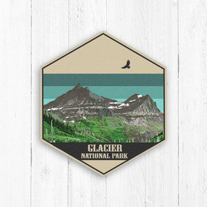 Glacier National Park Hexagon Illustration