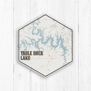 Table Rock Lake Hexagon Map Print