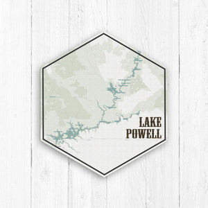 Lake Powell Hexagon Canvas Map: Light