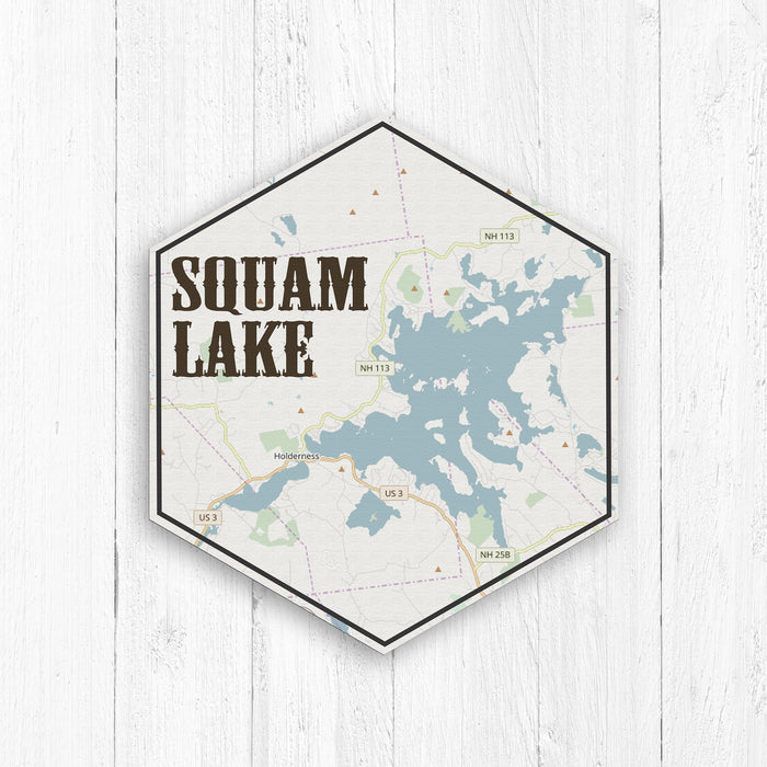 Squam Lake New Hampshire Hexagon Map Print