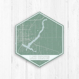 Lake Decatus Illinois Hexagon Print
