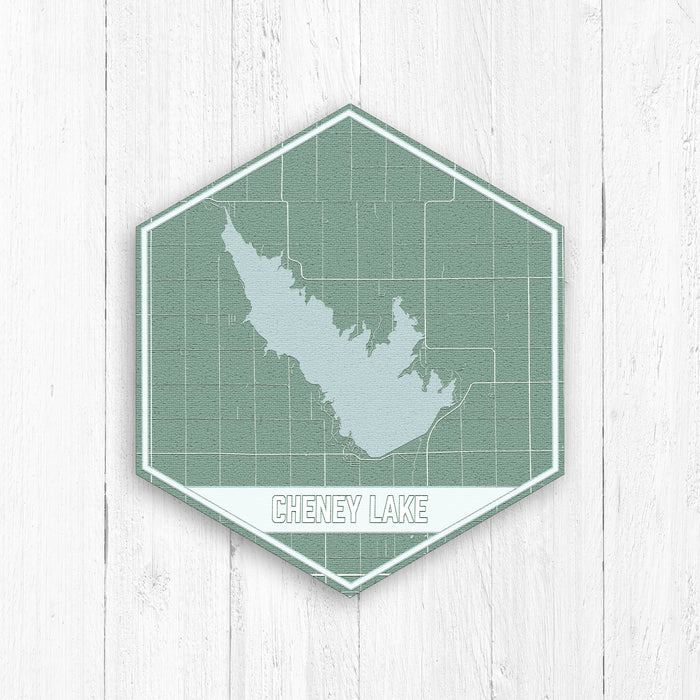 Cheney Lake Kansas Hexagon Map Print