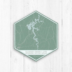 Barren River Lake Kentucky Hexagon Map Print