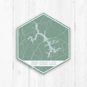 Deep Creek Lake Maryland Hexagon Map Print