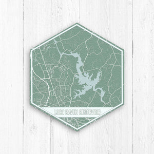 Loch Raven Reservoir Maryland Hexagon Print
