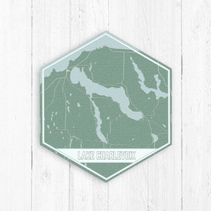 Lake Charlevoix Michigan Hexagon Print: Nautical