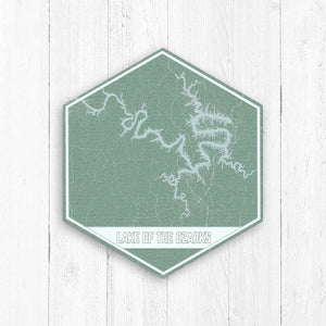 Lake of the Ozarks Missouri Hexagon Print: Nautical