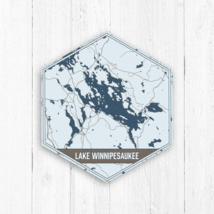 Lake Winnipesaaukee New Hampshire Hexagon Print: Navy