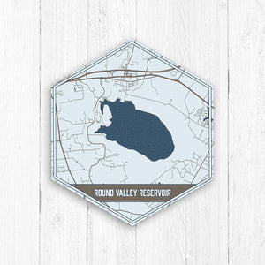 Round Valley Reservoir New Jersey Hexagon Map Print